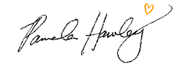 Pamela Hawley's Signature with an Orange Heart